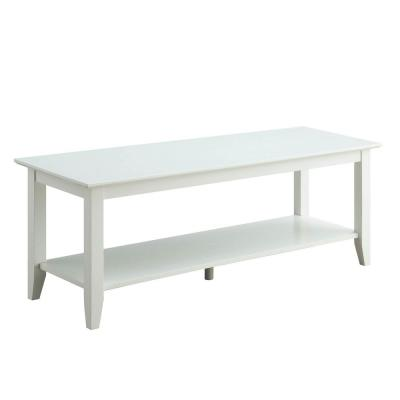 American Heritage White Coffee Table with Shelf