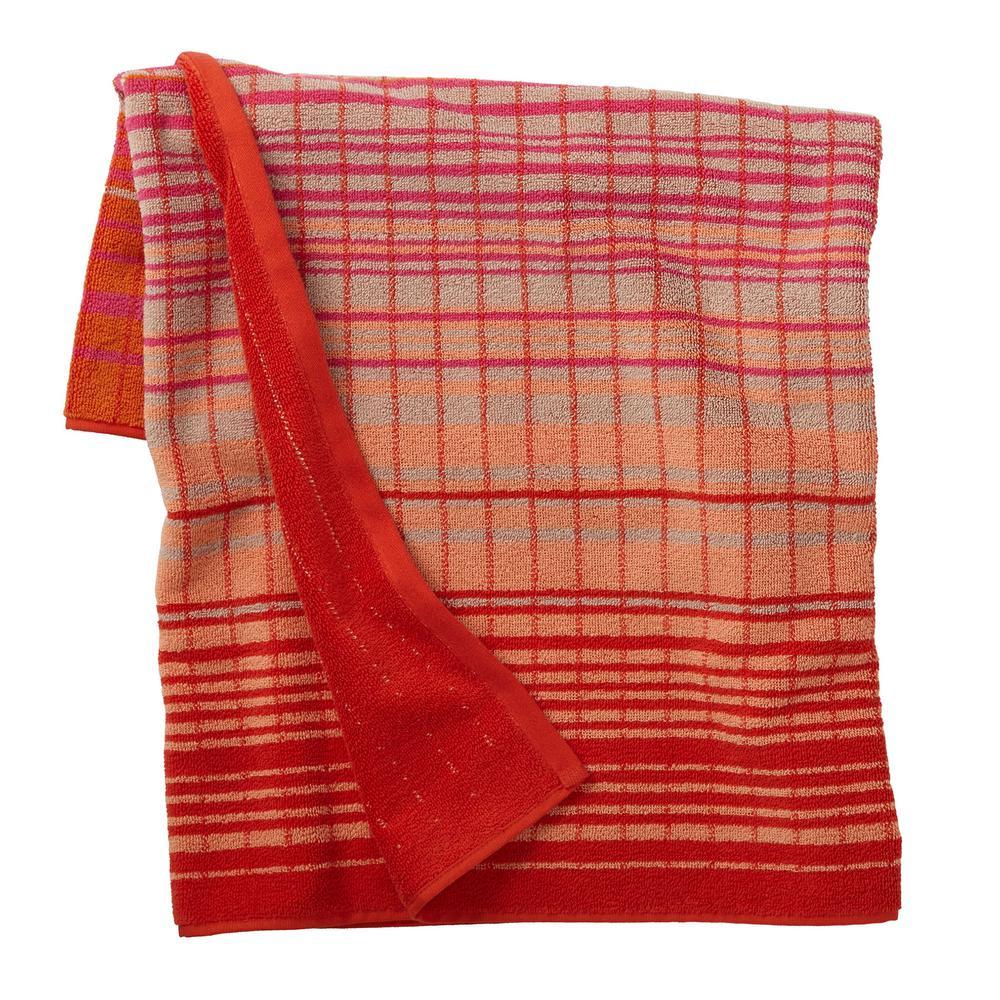 Ripple Stripe Orange Cotton Fingertip Towel (Set of 2)