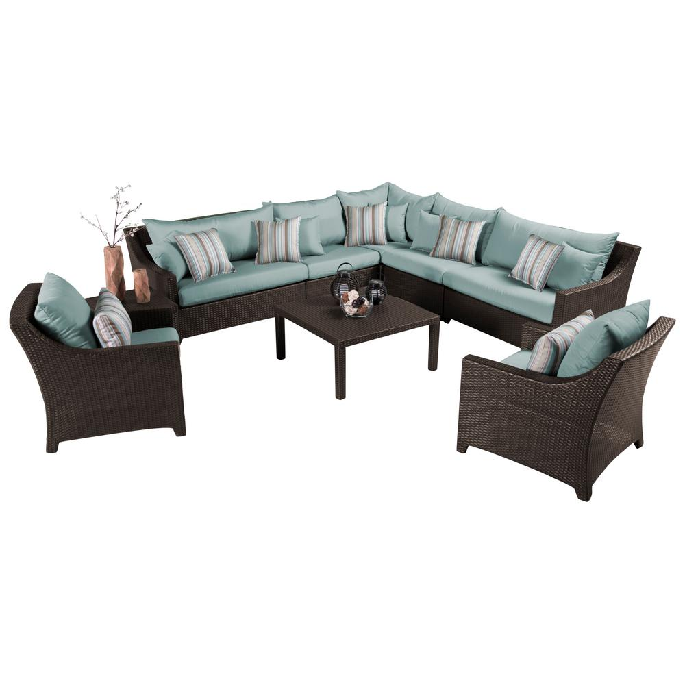 Deco 9 piece patio sectional seating set with bliss blue cushions