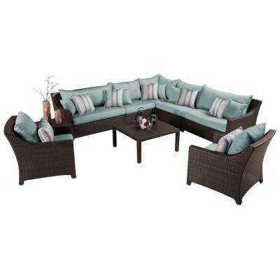 Deco 9-Piece Patio Sectional Seating Set with Bliss Blue Cushions