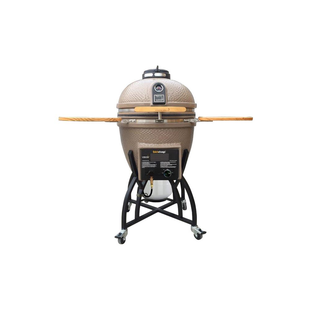 vision grills hybrid kamado charcoal and gas grill in taupe with grill cover