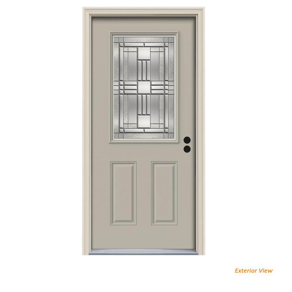 32 in. x 80 in. 1/2 Lite Cordova Desert Sand Painted Steel Prehung Left-Hand Inswing Front Door w/Brickmould