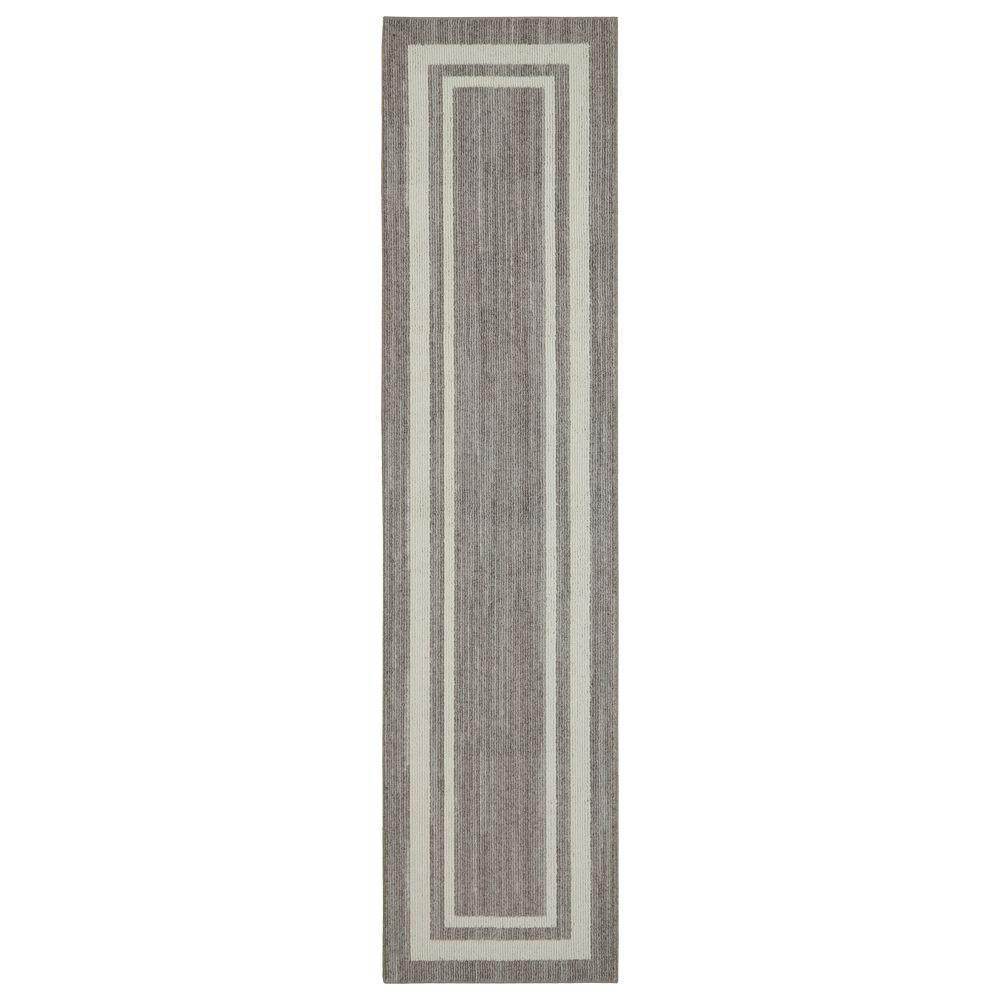 Border Loop Grey Cream 2 Ft X 8 Ft Indoor Runner Rug 513986 The