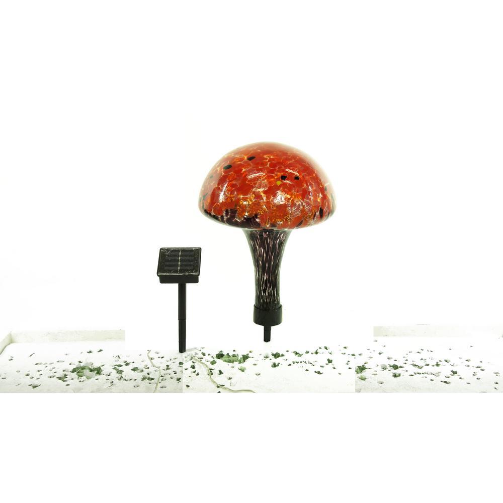 Alpine Solar Glass Mushroom With 16 LED Lights-EGG158SLR