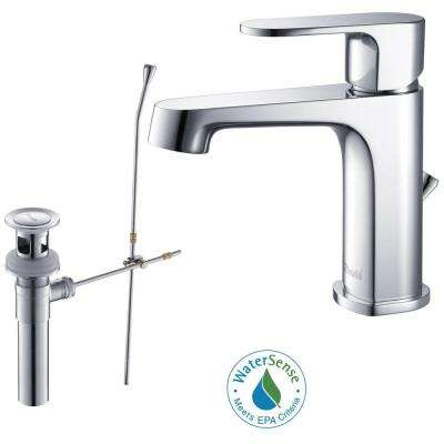 Brisbane Single Hole Single-Handle Lead Free Solid Brass Bathroom Faucet in Chrome with Drain Kit