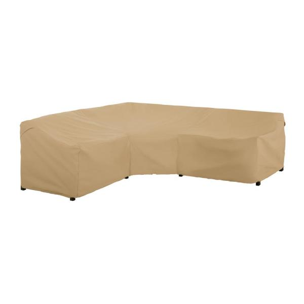 Terrazzo 100 in. L x 33.5 in. D x 31 in. H V-Shape Sectional Lounge Set Cover