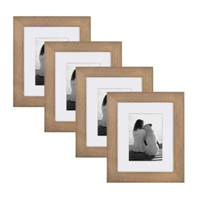 Museum 8 in. x 10 in. matted to 5 in. x 7 in. Rustic Brown Wood Picture Frame (Set of 4)