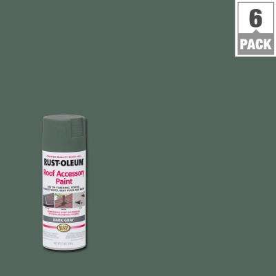12 oz. Dark Gray Roof Accessory Spray Paint (6-Pack)