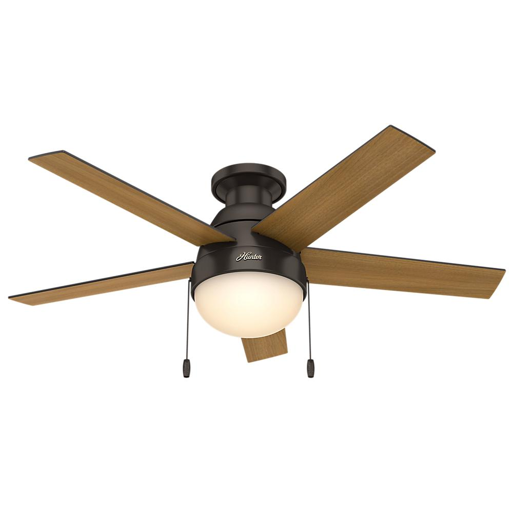 Hunter anslee 46 in indoor low profile matte silver ceiling fan indoor low profile matte silver ceiling fan with light 59270 the home depot aloadofball