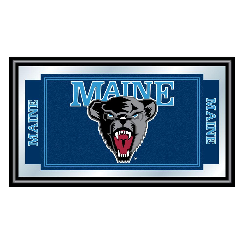 Trademark University of Maine 15 in. x 26 in. Black Wood Framed Mirror