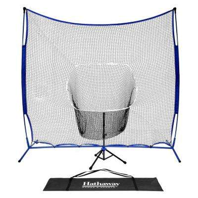 7 ft. Power Stroke Baseball Hitting Net System with Adjustable Batting Tee and Backing Net
