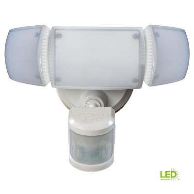 270-degree White Motion Activated Outdoor Integrated LED Triple Head Flood Light with Adjustable Color Temperature