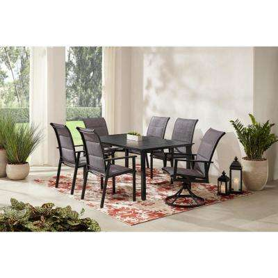 High Garden 7-Piece Black Steel Padded Sling Slat Top Rectangular Outdoor Patio Dining Set