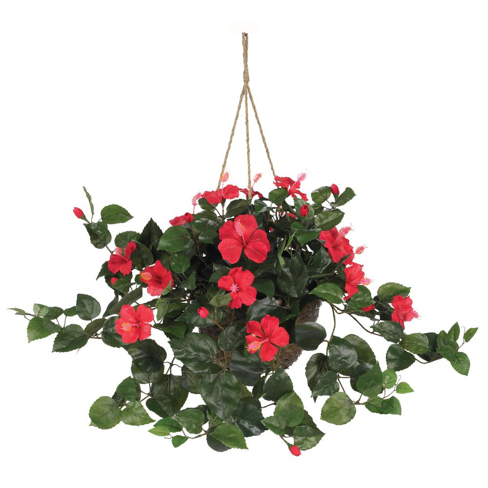 Nearly Natural 24 In Hibiscus Hanging Basket 6614 The Home Depot