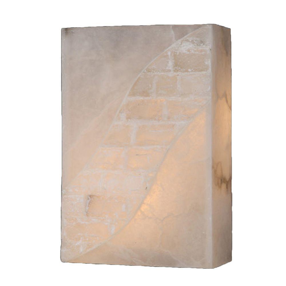 Worldwide Lighting Pompeii 1-Light Flemish Brass and Natural Quartz Sconce
