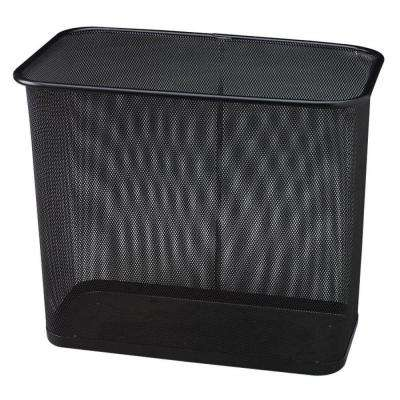 7.5 Gal. Black Rectangular Steel Mesh Trash Can