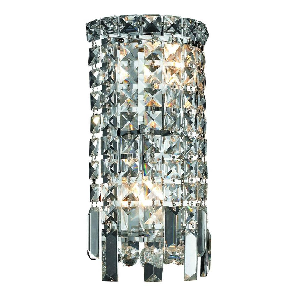 2-Light Chrome Wall Sconce with Clear Crystal