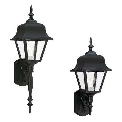 Lanterns Collection 1-Light Black Outdoor Painted Polycarbonate Wall Lantern