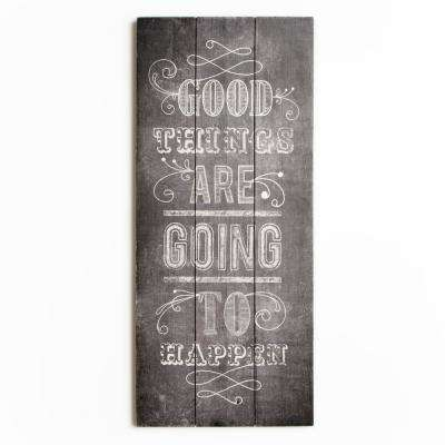"""28 in. x 12 in. """"Good Things"""" Wooden Wall Art"""