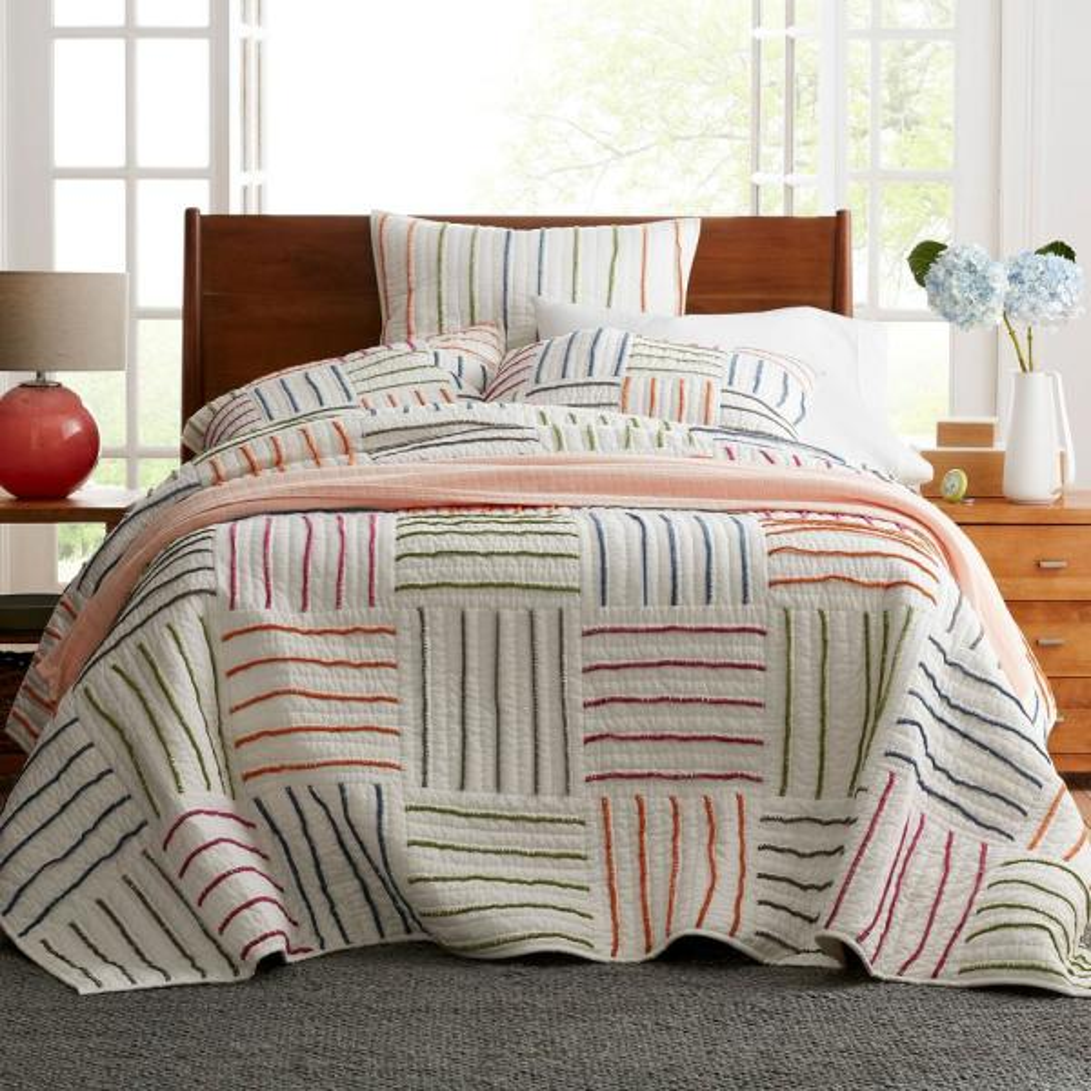 The Company Store Linear Square Multi Cotton King Quilt 50336Q-K-MULTI