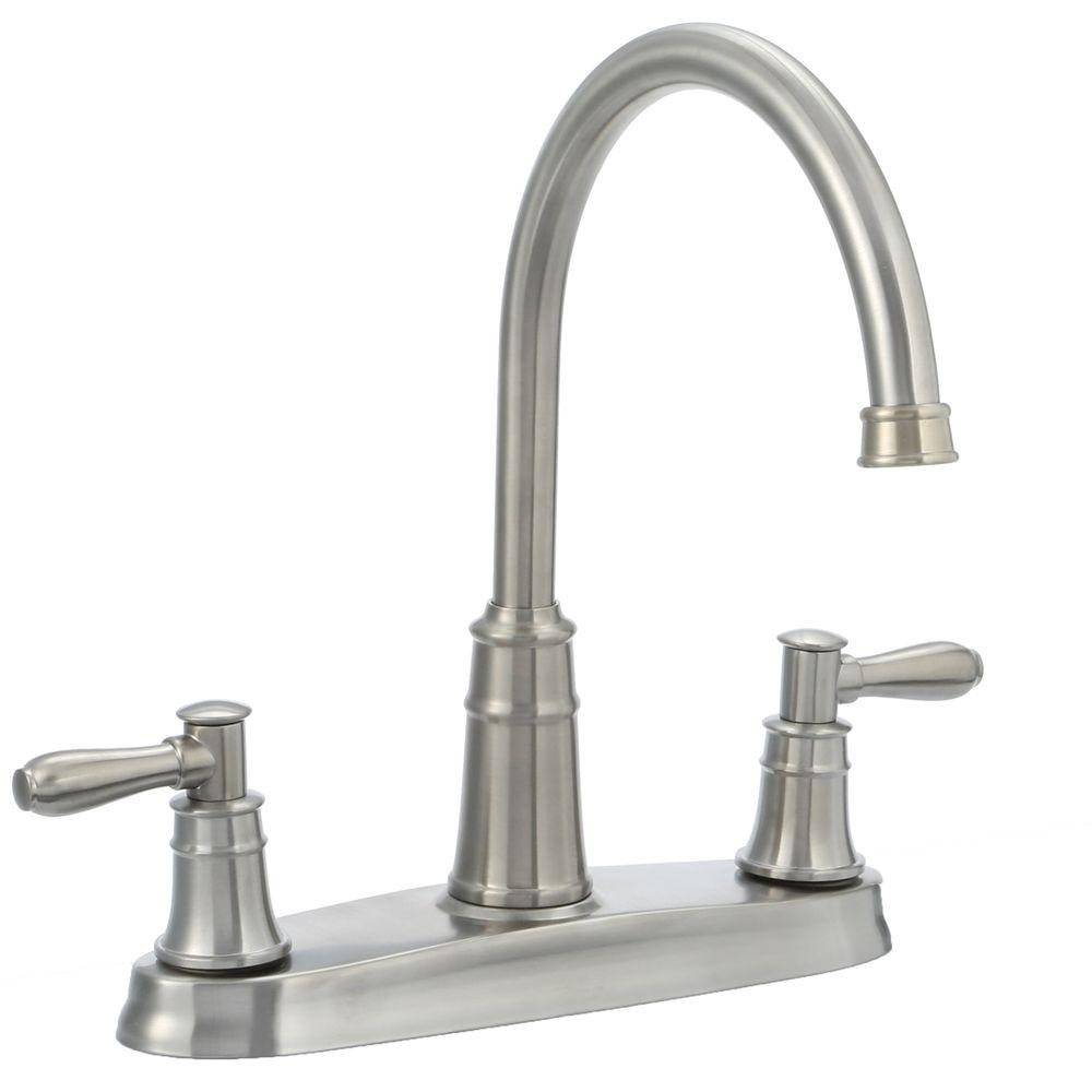 Pfister harbor high arc 2 handle standard kitchen faucet in stainless steel