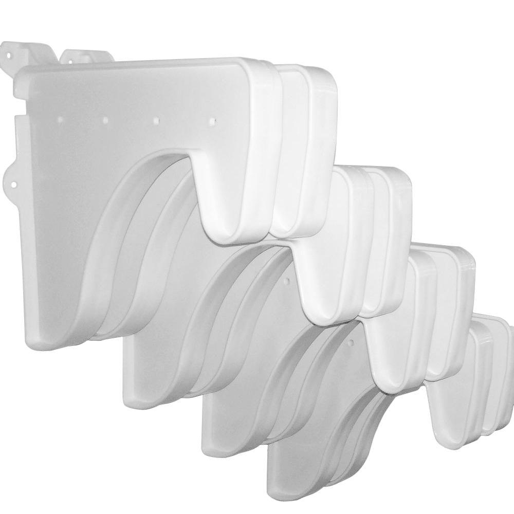 EZ Shelf 12 in. x 10 in. White End Brackets (Set of 8) for Rod & Shelf (for mounting to back wall/connecting)