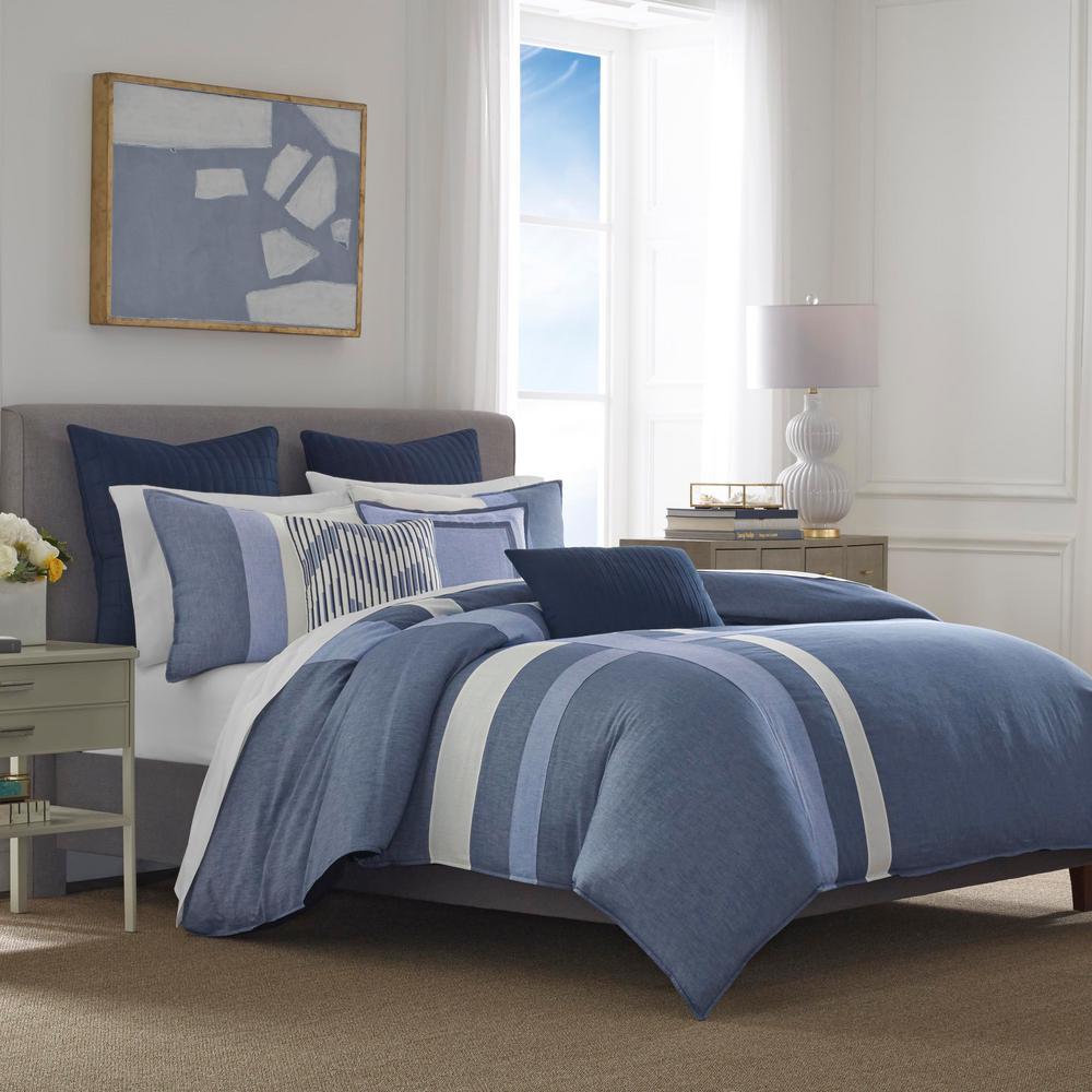Waterbury 3-Piece Navy King Cotton Comforter Set