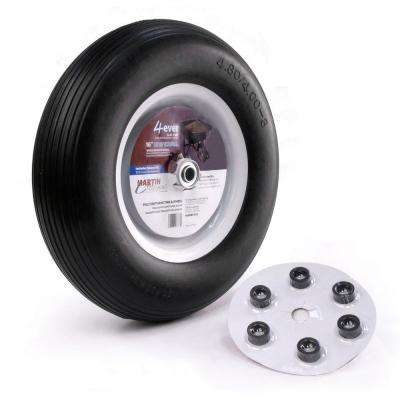 480/400-8 16 in. Flat Free Wheelbarrow/Garden Cart Wheel with Universal Hub 5/8 in. Ball Bearing