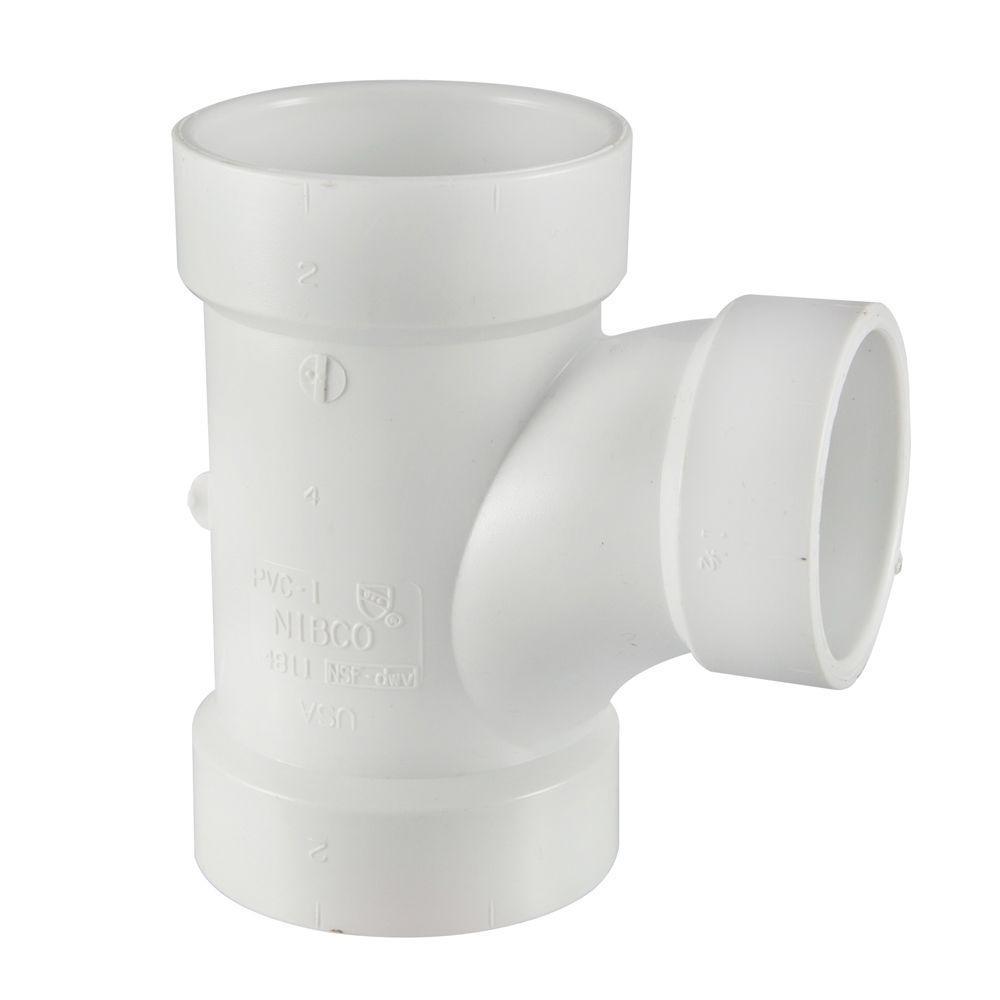 null 3 in. x 3 in. x 1-1/2 in. PVC DWV All-Hub Sanitary Reducing Tee