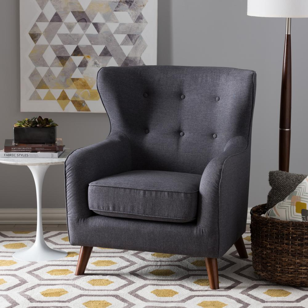 Ludwig Dark Gray Fabric Upholstered Accent Chair
