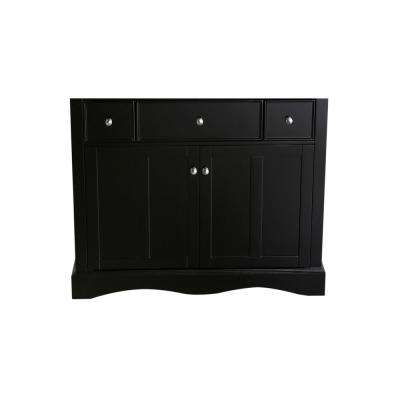 39 in. Main Cabinet Only in Black with Fine Brushed Chrome Hardware