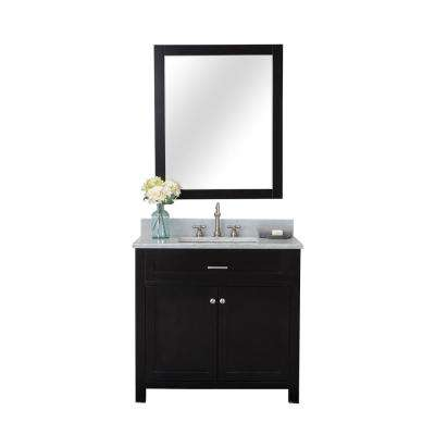 Norwalk 36 in. W x 34.2 in. H x 22 in. D Vanity in Espresso with Marble Vanity Top in White with White Basin