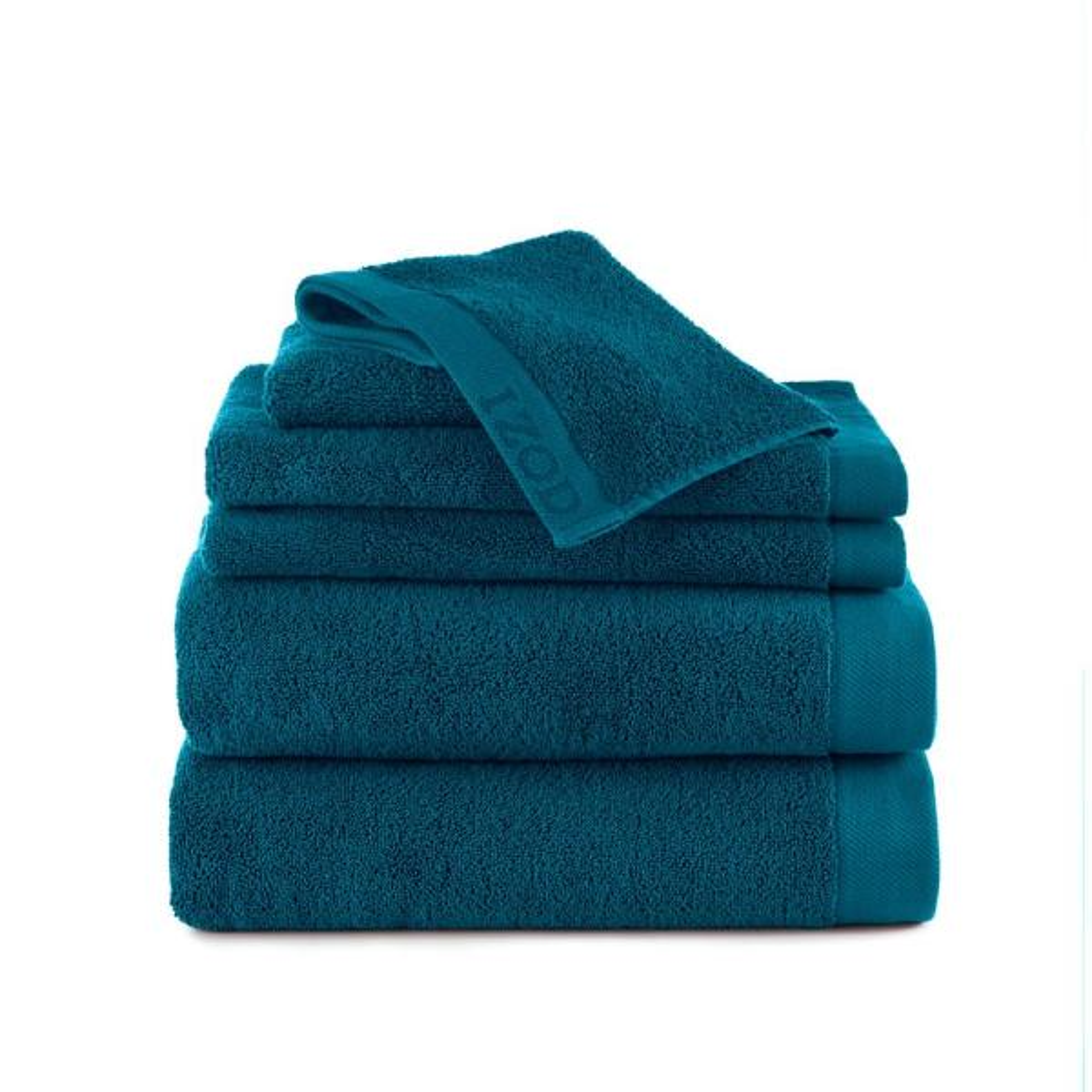 IZOD Classic 6-Piece Cotton Bath Towel Set in New Pool