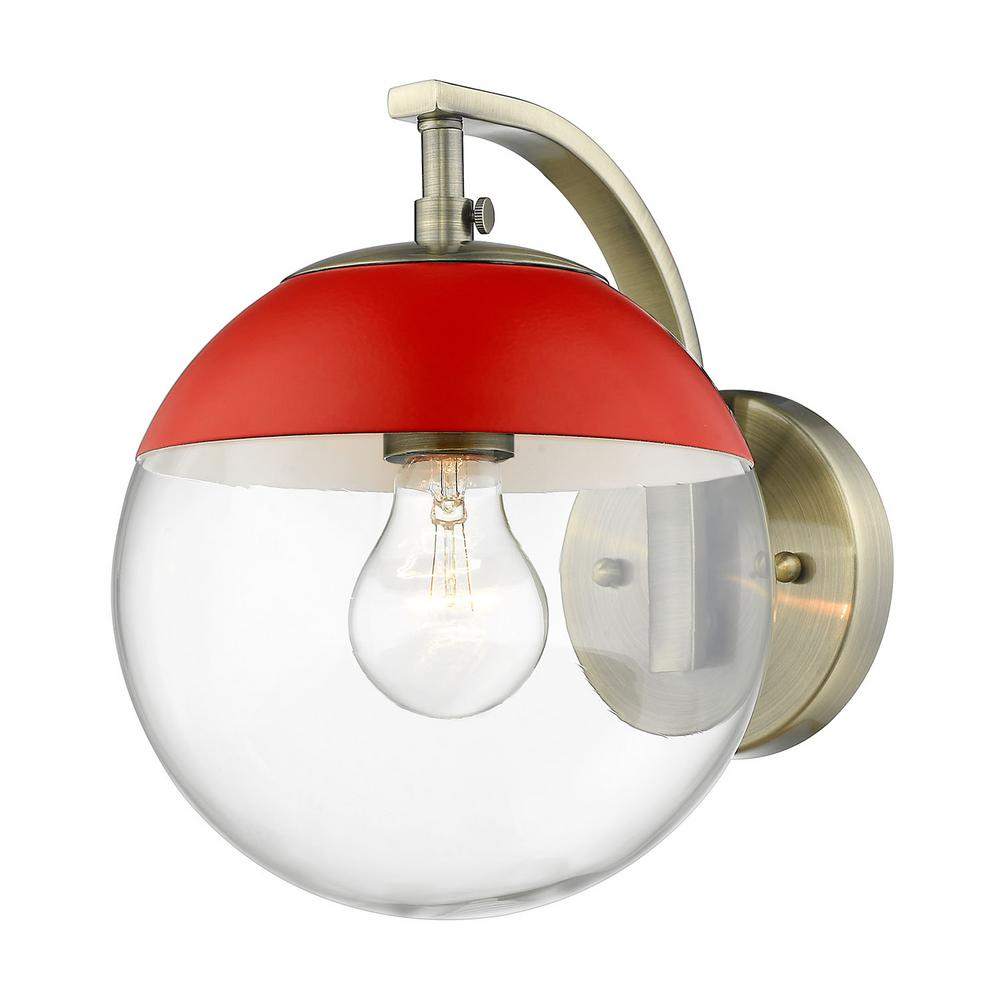 Dixon 1-Light Aged Brass with Clear Glass and Red Cap Sconce
