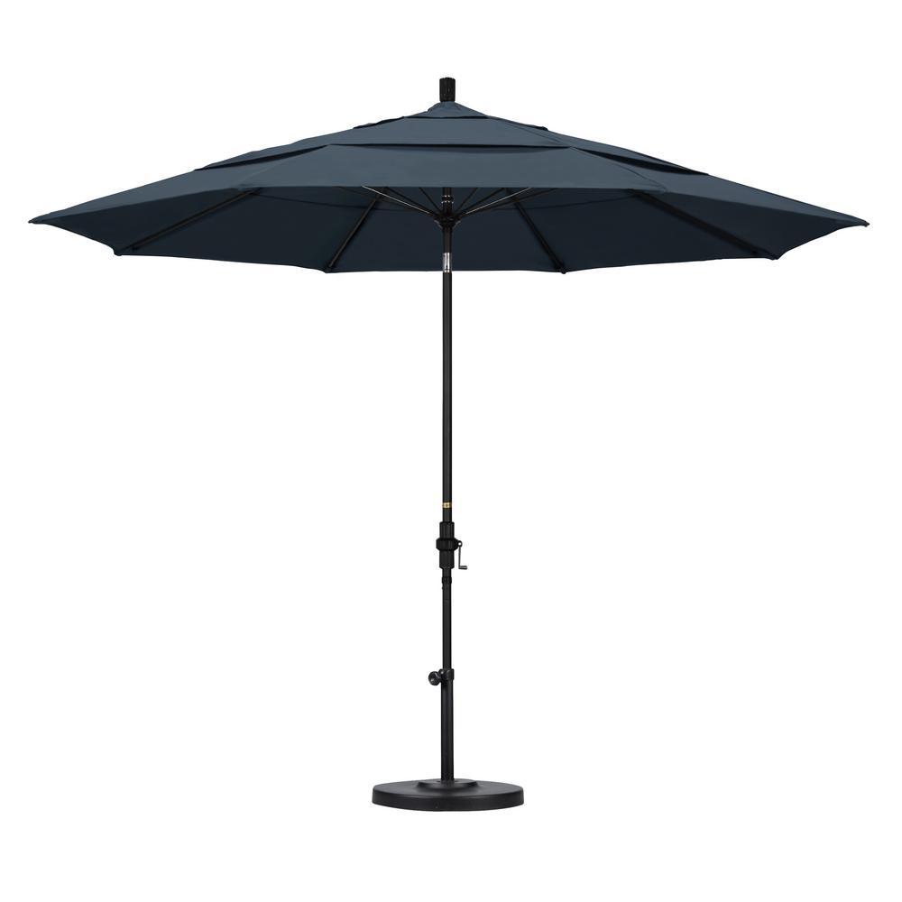 California Umbrella 11 Ft Fibergl Collar Tilt Double Vented Patio In Shire Pacifica
