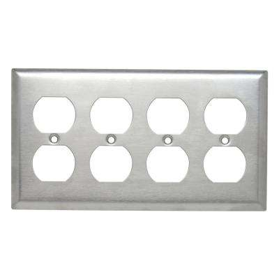 302 Series 4-Gang Duplex Wall Plate, Stainless Steel
