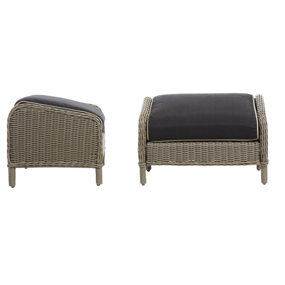 Home Decorators Collection Brighton Cove Smokey Beige Patio Ottoman with Black Cushions (2-Pack)