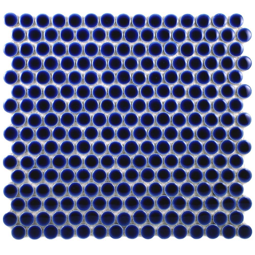 Hudson Penny Round Cobalt 12 in. x 12-5/8 in. x 5 mm Porcelain Mosaic Tile (10.2 sq. ft. / case)