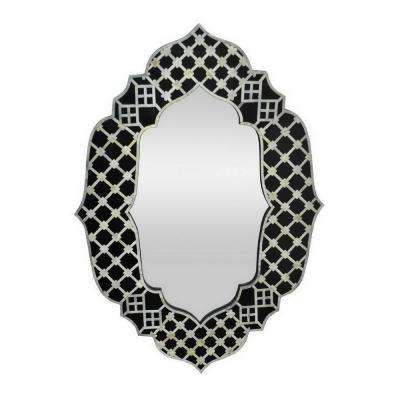 40 in. Three Hands Blue Wood Framed Mirror