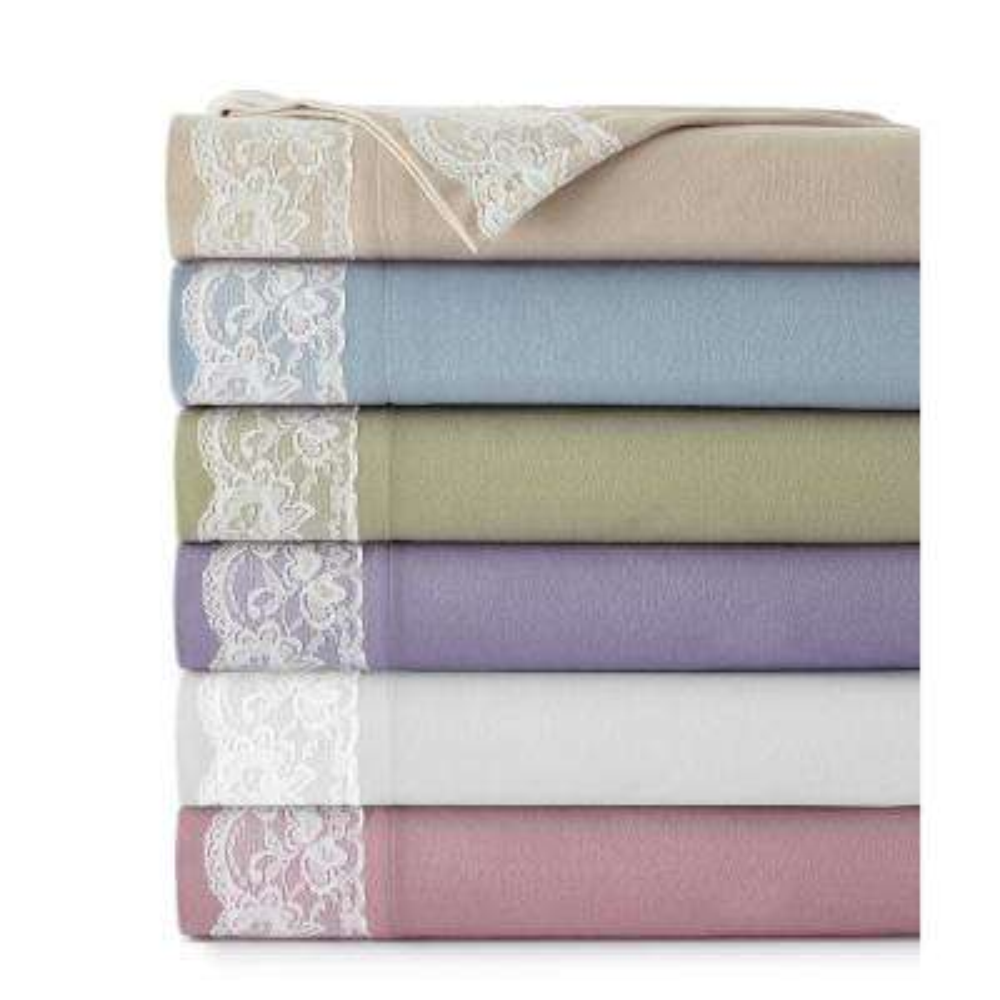 Full Amethyst Lace Edged Sheet Set