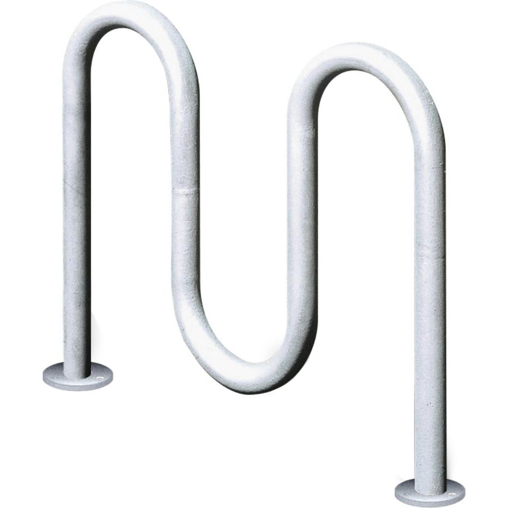 2 ft Galvanized, 3-Loop Inground Mount Contemporary Commercial Bike Rack