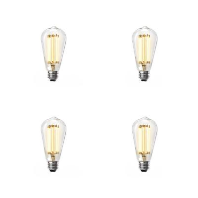 60-Watt Equivalent ST19 Dimmable LED Clear Glass Vintage Edison Light Bulb With Straight Filament Soft White (4-Pack)