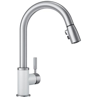 SONOMA Single-Handle Pull-Down Sprayer Kitchen Faucet in White/Stainless