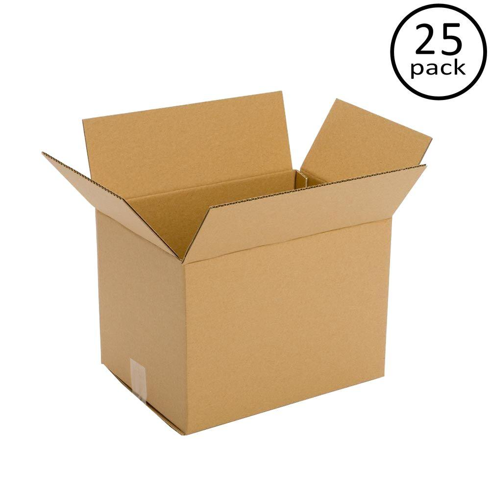 Plain Brown Box 14 in. x 12 in. x 6 in. Multi-depth 25-Box Bundle