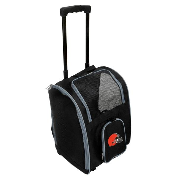 Denco NFL Cleveland Browns Pet Carrier Premium Bag with wheels in