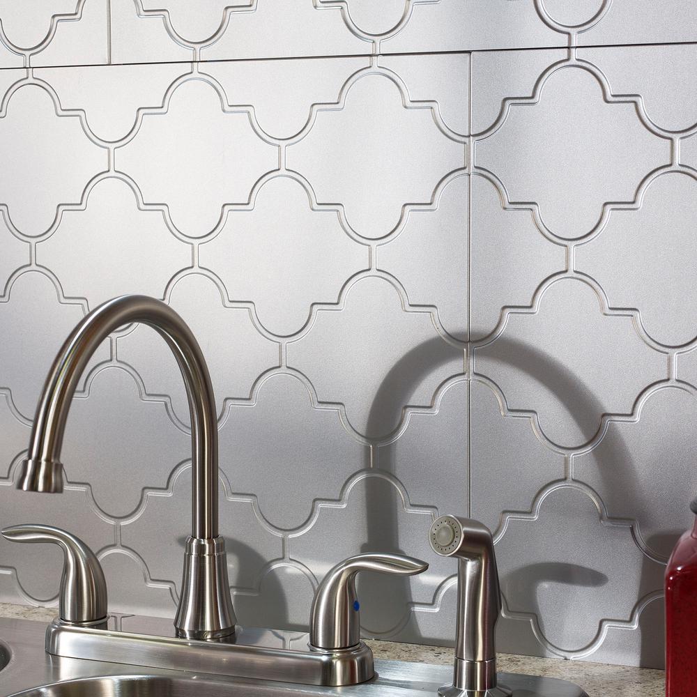 Monaco 18 in. x 24 in. Argent Silver Vinyl Decorative Wall Tile Backsplash 18 sq. ft. Kit