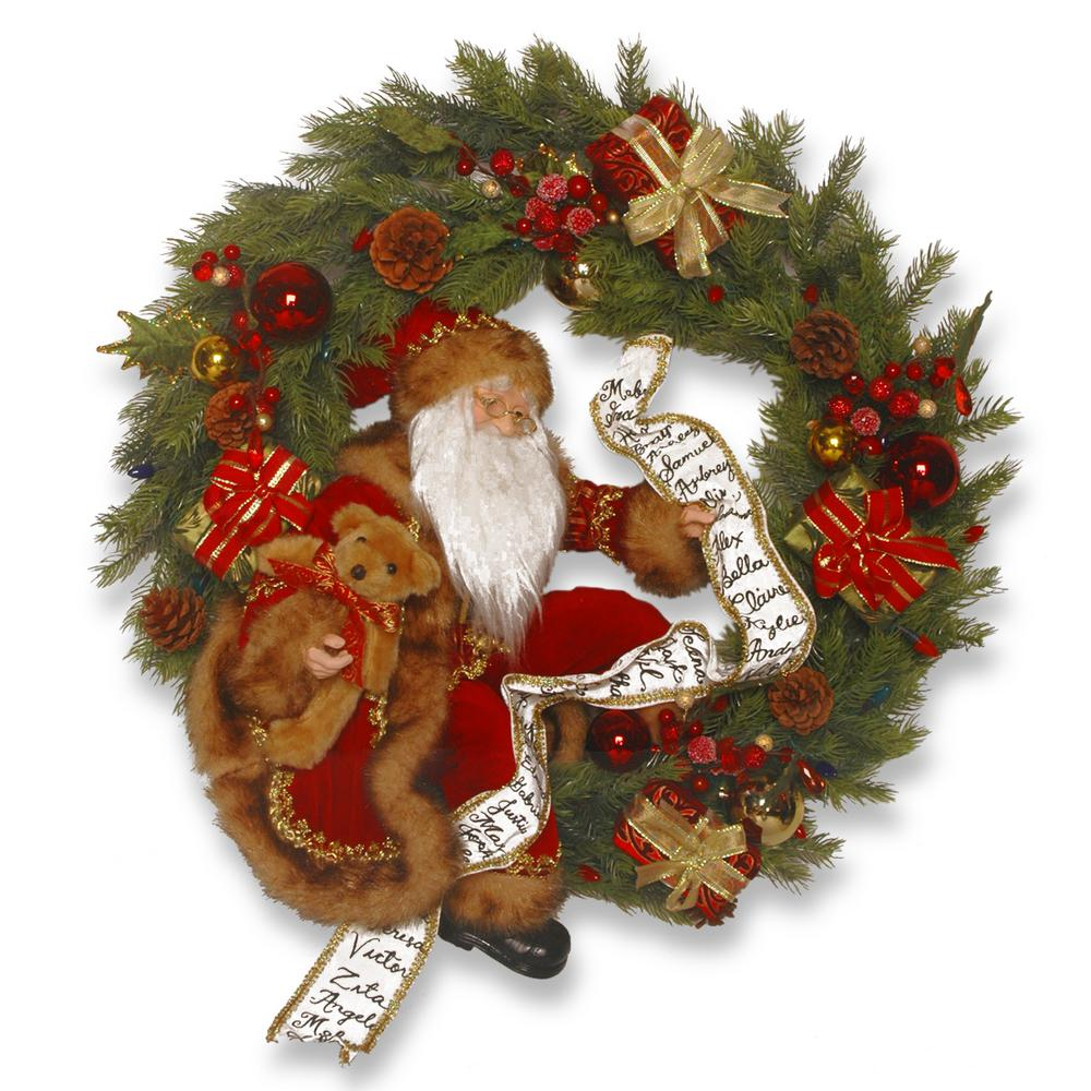 24 in. Plush Collection Wreath with Lights
