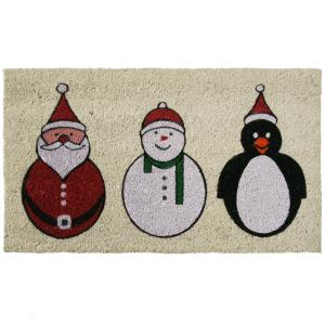 Santa, Snowman and a Penguin 18 in. x 30 in. Holiday Door Mat