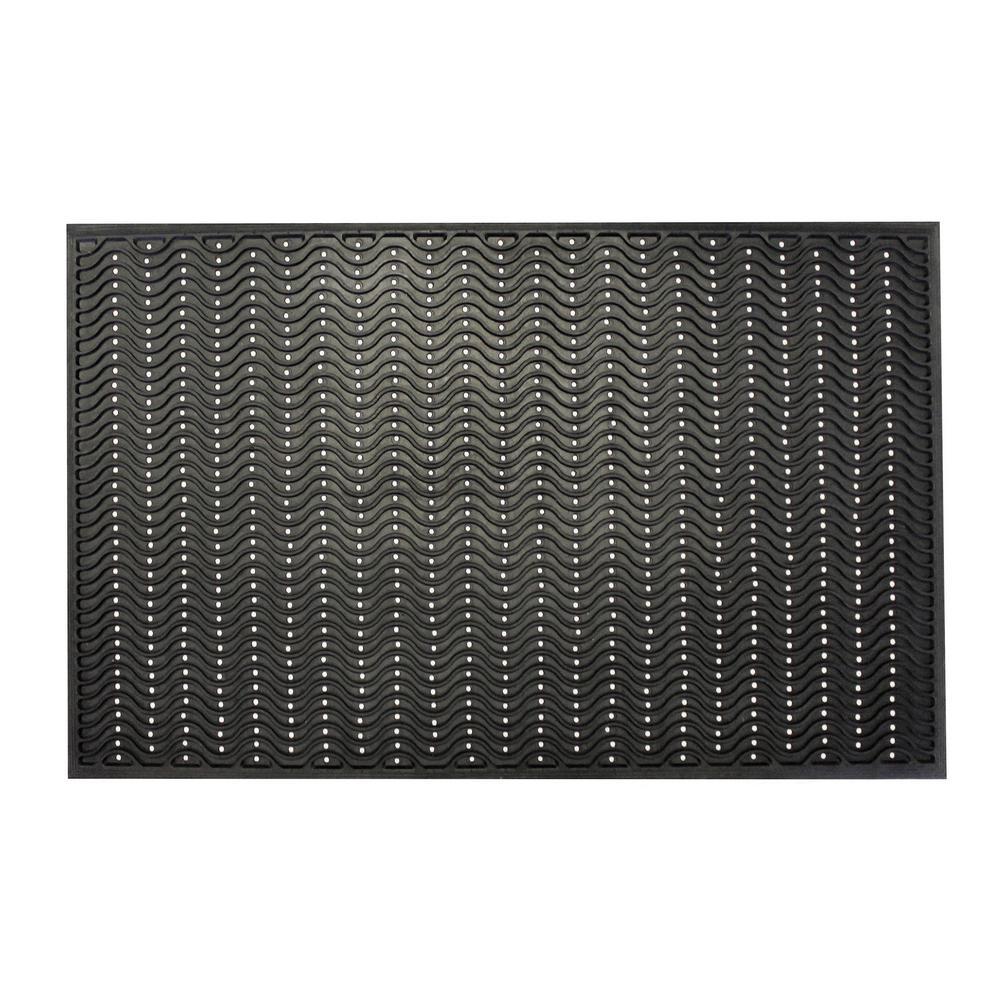 Wave Scraper Durable Anti Fatigue 60 in. x 36 in. Commercial Rubber Scraper Floor Mat