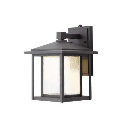 Black Outdoor Seeded Glass Dusk to Dawn Wall Lantern